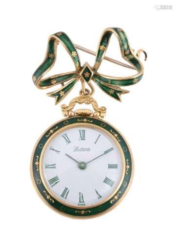 Letam,Gold and enamel brooch fob watch