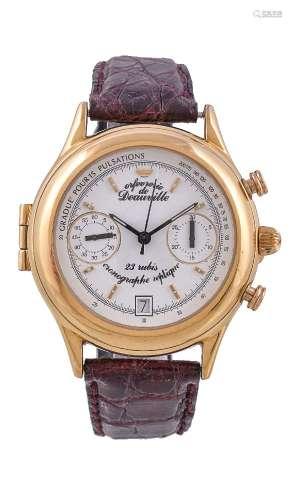 ϒ Unsigned,Gold plated chronograph wrist watch