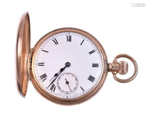 Unsigned, 9 carat gold half hunter keyless wind pocket watch