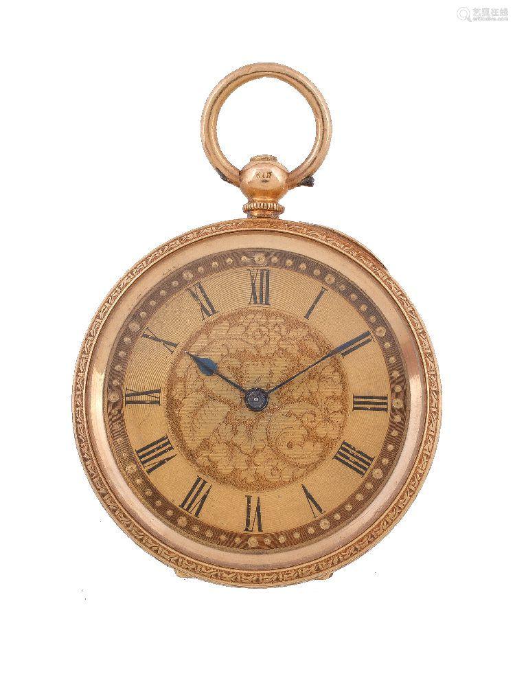 J. W. Benson, 18 carat gold open face keyless wind fob watch