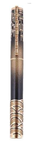 S. T. Dupont, Shanghai, a limited edition black lacquer and gold dust fountain pen
