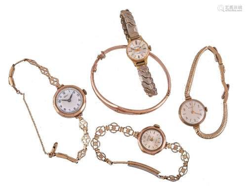 A collection of lady's bracelet watches