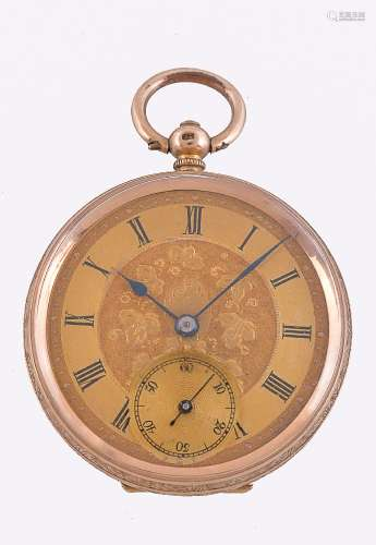 Unsigned,Gold coloured open face pocket watch