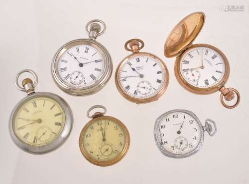 A collection of six Waltham pocket watches