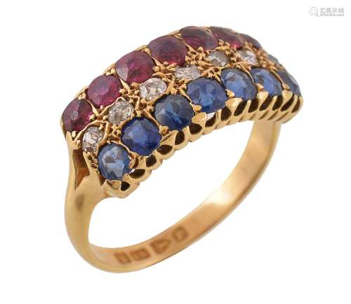 A late Victorian ruby, sapphire and diamond dress ring