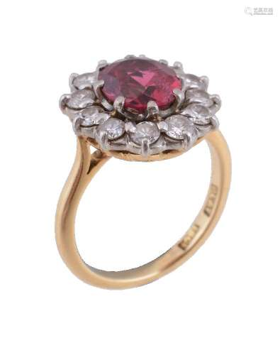 A 1960s red spinel and diamond cluster ring