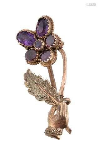 A Regency amethyst pansy brooch