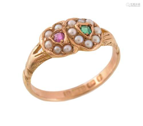 A ruby, emerald and half pearl double heart ring