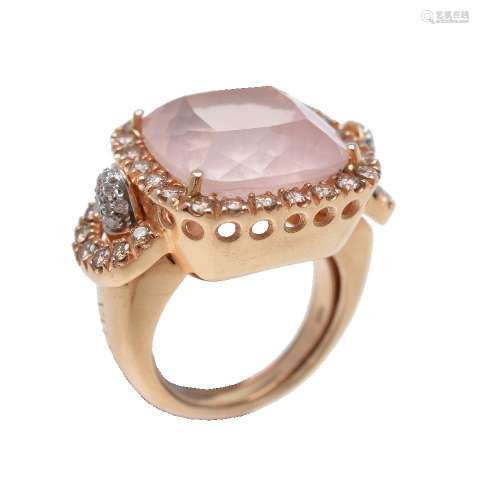 A rose quartz and diamond ring