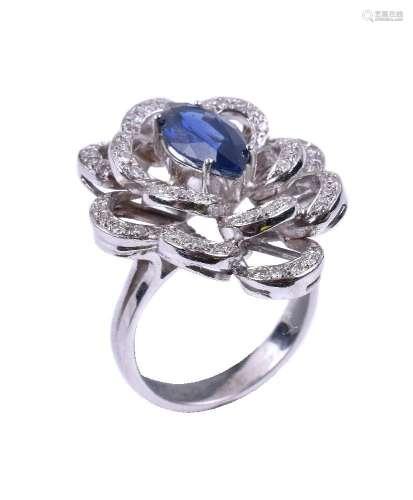 A sapphire and diamond flower head dress ring