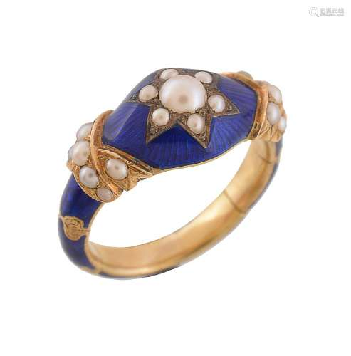 An early Victorian half pearl and blue enamel mourning ring