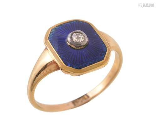 A diamond and blue enamel panel ring