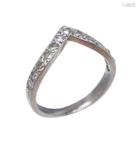 A wishbone shaped diamond ring