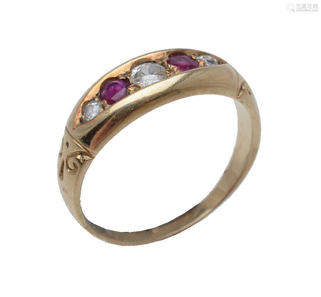 An early 20th century five stone ruby and diamond ring