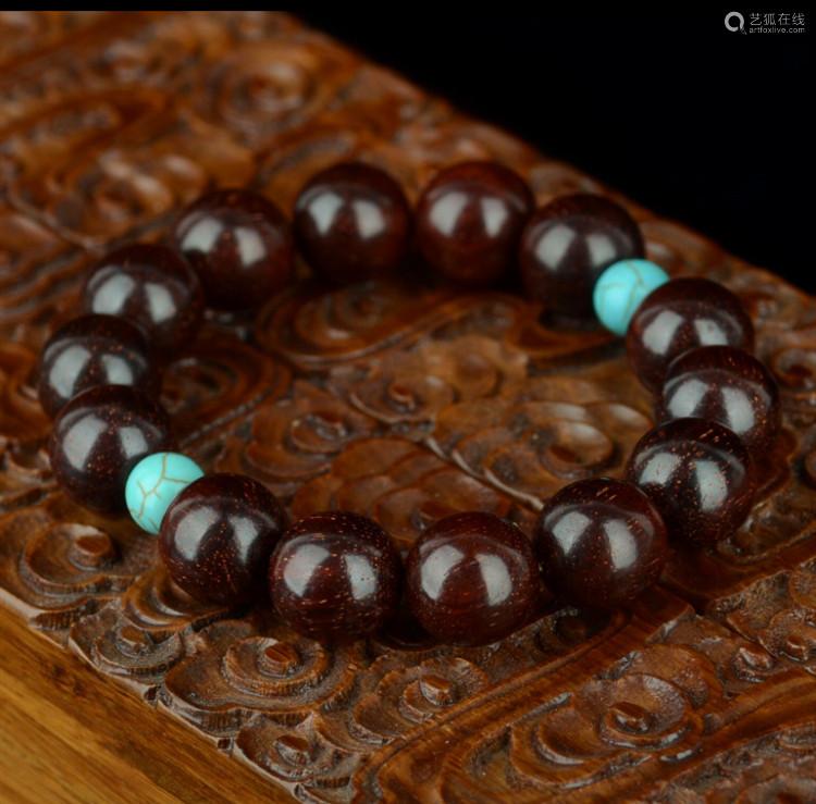 印度金星小叶紫檀手串紫檀1.2cm(配绿松石)
