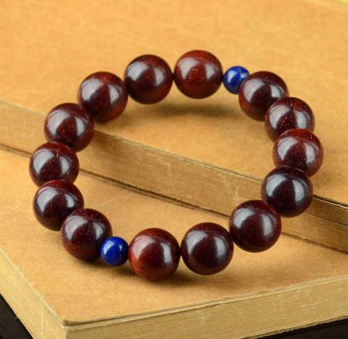 印度金星小叶紫檀手串紫檀1.2cm(配青金石)
