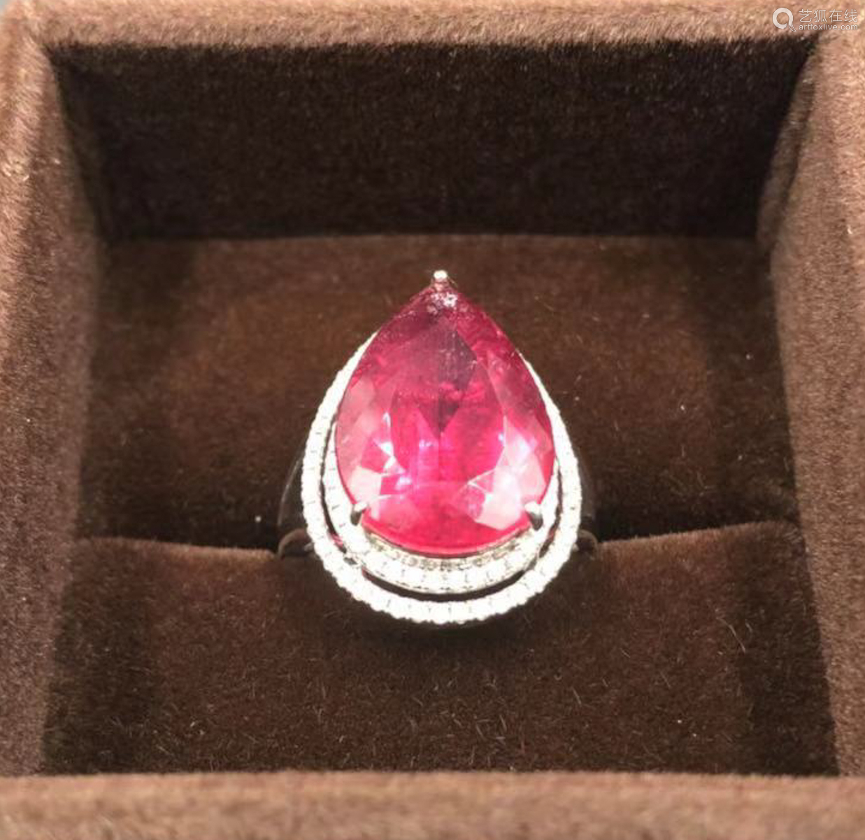 A RED TOURMALINE WITH DIAMOND PLATINUM RING