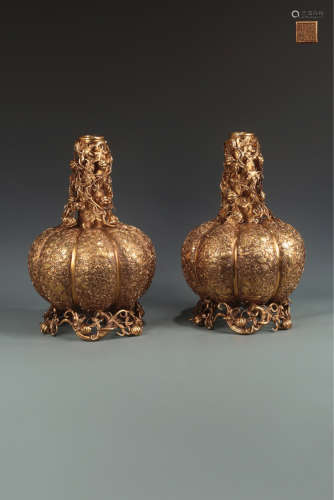 A PAIR OF OLD FRUIT DESIGN GILT LAMPHOLDERS