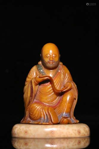 17-19TH CENTURY, A BUDDHA DESIGN SHOU SHAN STONE ORNAMENT, QING  DYNASTY