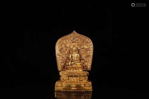 17-19TH CENTURY, AN OLD BUDDHA DESIGN GILT BRONZE ORNAMENT, QING DYNASTY