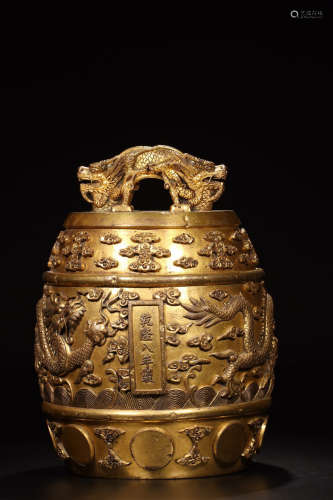 17-19TH CENTURY, A DRAGON DESIGN GILT BRONZE CLOCK, QING DYNASTY