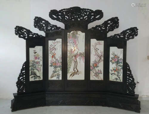 A FLORAL AND BIRD PATTERN ROSEWOOD SCREEN
