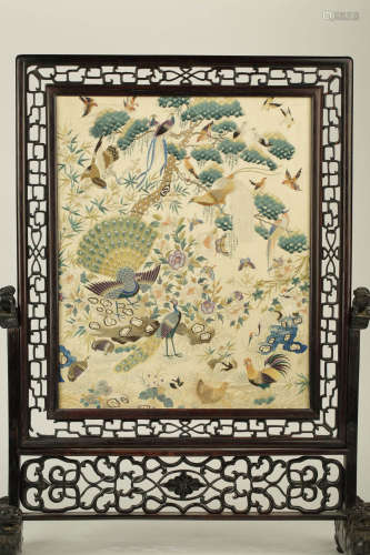 17-19TH CENTURY, AN OLD TABLE PLAQUE, QING DYNASTY
