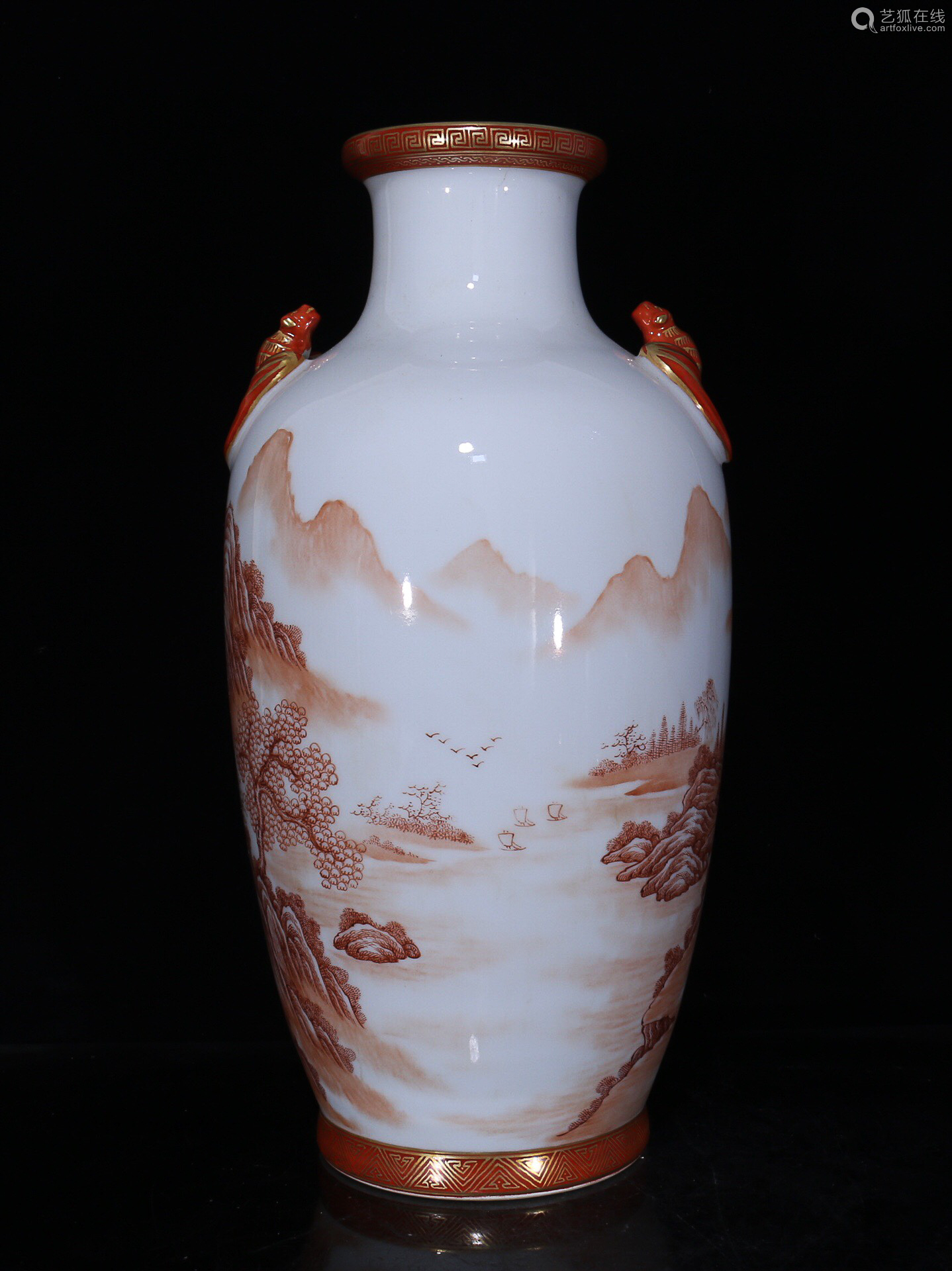 17-19TH CENTURY, A PAIR OF LANDSCAPE PATTERN DOUBLE-EAR VASES, QING DYNASTY