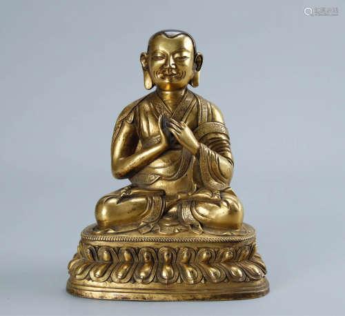 17-19TH CENTURY, A BUDDHA DESIGN GILT BRONZE FIGURE, QING DYNASTY