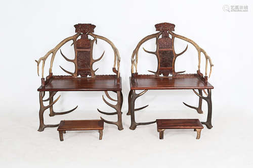 17-19TH CENTURY, A PAIR OF DEER ANGLE DESIGN ROSEWOOD CHAIRS, QING DYNASTY