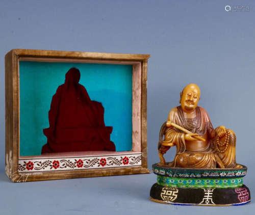 AN OLD TIBETAN A BUDDHA DESIGN FIELD YELLOW STONE ORNAMENT