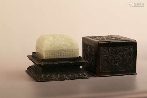 17-19TH CENTURY, A WHITE HETIAN JADE SEAL, QING DYNASTY