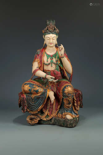 17-19TH CENTURY, A GUAN YIN DESIGN CAMPHORWOOD ORNAMENT, QING DYNASTY