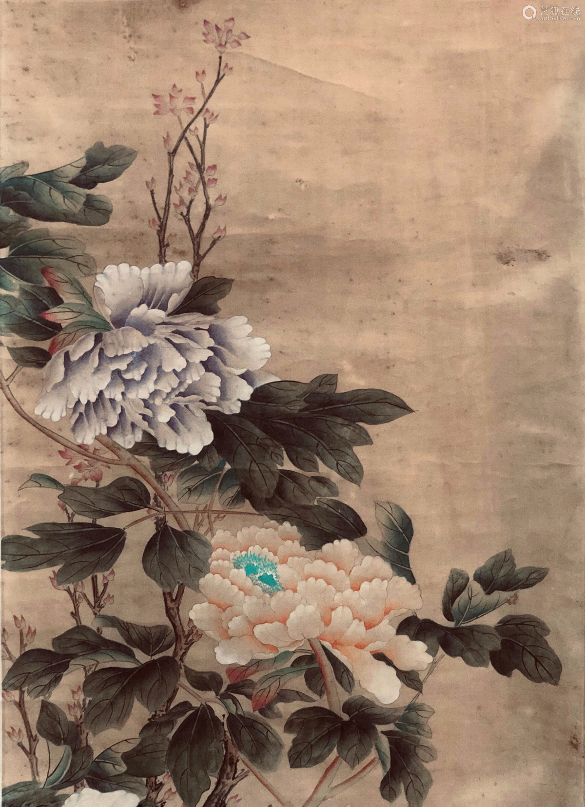 17-19TH CENTURY, UNKNOW <MU DAN GONG JI> PAINTING, QING DYNASTY