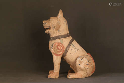 206 BC–220 AD, A DOG DESIGN POTTERY FIGURE, HAN DYNASTY
