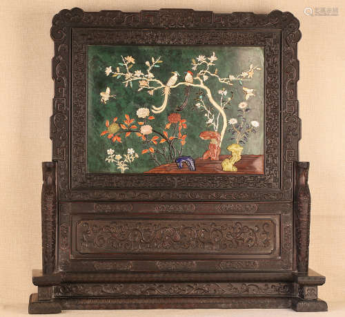 17-19TH CENTURY, A LANDSCAPE PATTERN ROSEWOOD SCREEN, QING DYNASTY