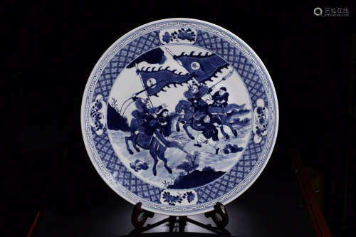 17-19TH CENTURY, A STORY DESIGN PORCELAIN PLATE, QING DYNASTY