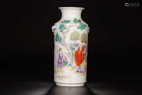 17-19TH CENTURY, A CHARACTER PATTERN PORCELAIN VASE, QING DYNASTY