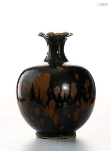 Black Glazed Russet Splashed Globular Vase