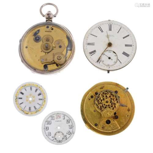 A group of assorted pocket watch movements and dials,