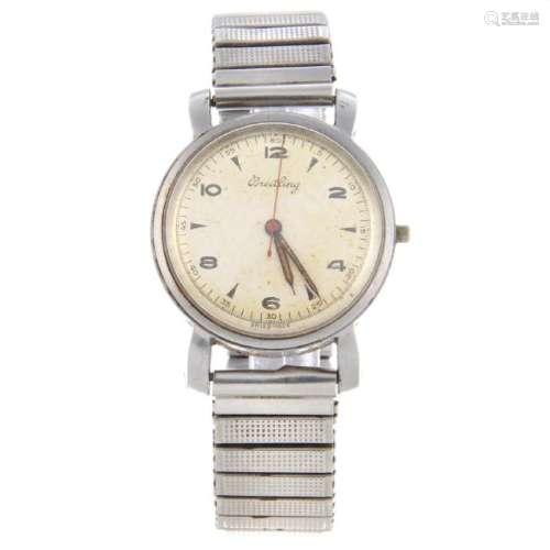 BREITLING - a gentleman's bracelet watch. Stainless
