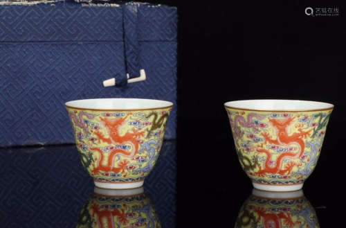 PAIR FAMILLE ROSE DRAGON PATTERN TEA CUPS