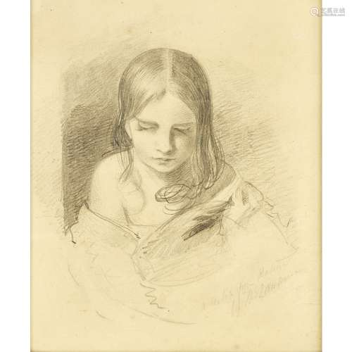 SIR THOMAS LAWRENCE (BRITISH 1769-1830)A SKETCH FROM NATURE, SAID TO BE INES FLETCHER Signed and
