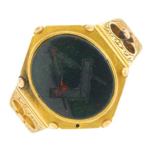 A mid Victorian 15ct gold Masonic bloodstone intaglio ring.