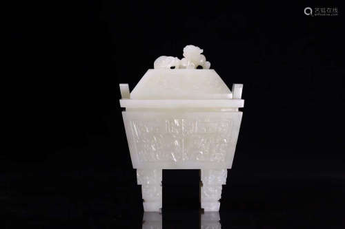 18-19TH CENTURY, A FLORAL PATTERN WHITE JADE SQUARE STOVE, LATE QING DYNASTY