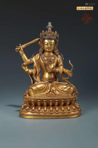 14-16TH CENTURY, A GILT BRONZE WENSHU BUDDHA STATUE, MING DYNASTY