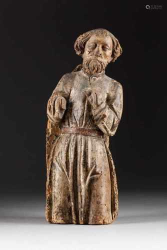 HEILIGER JOSEF (?) Deutsch, 17. Jh. Holz, plastisch geschnitzt, farbig gefasst, rückseitig geflacht.