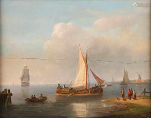 PETER HENDRIK THOMAS1814 Bielefeld - 1866 UtrechtFischer in stillem Gewässer Öl auf Holz. 37 x 48,
