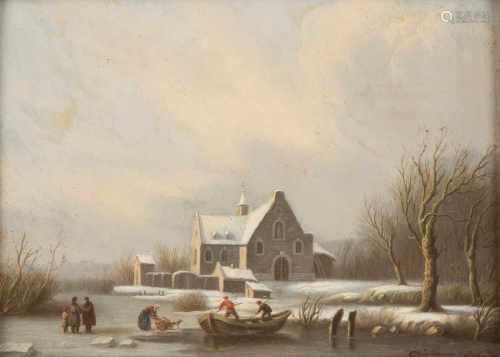 CAESAR BIMMERMANN (ATTR.)1821 - 1890 (tätig in Düsseldorf)Winterliche Szenerie Öl auf Holz. 23,5 x