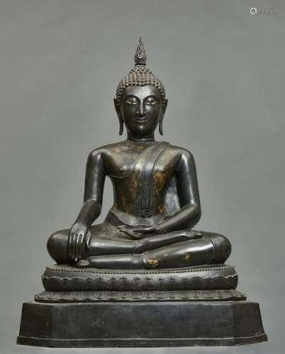 Bouddha Sakyamuni en bronze de style Ayutthaya ass…